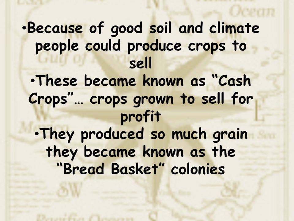 Because of good soil and climate people could produce crops to sell