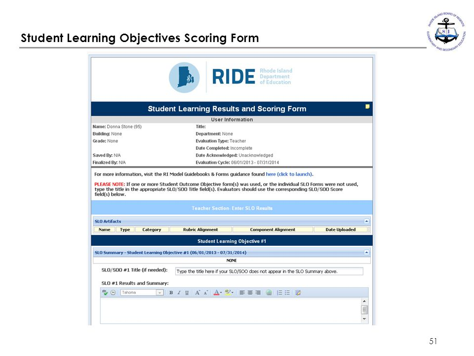 Student Learning Objectives Scoring Form