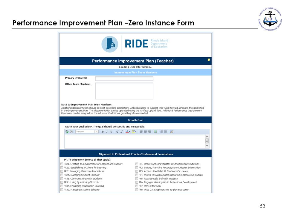 Performance Improvement Plan –Zero Instance Form
