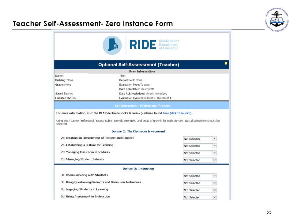 Teacher Self-Assessment- Zero Instance Form