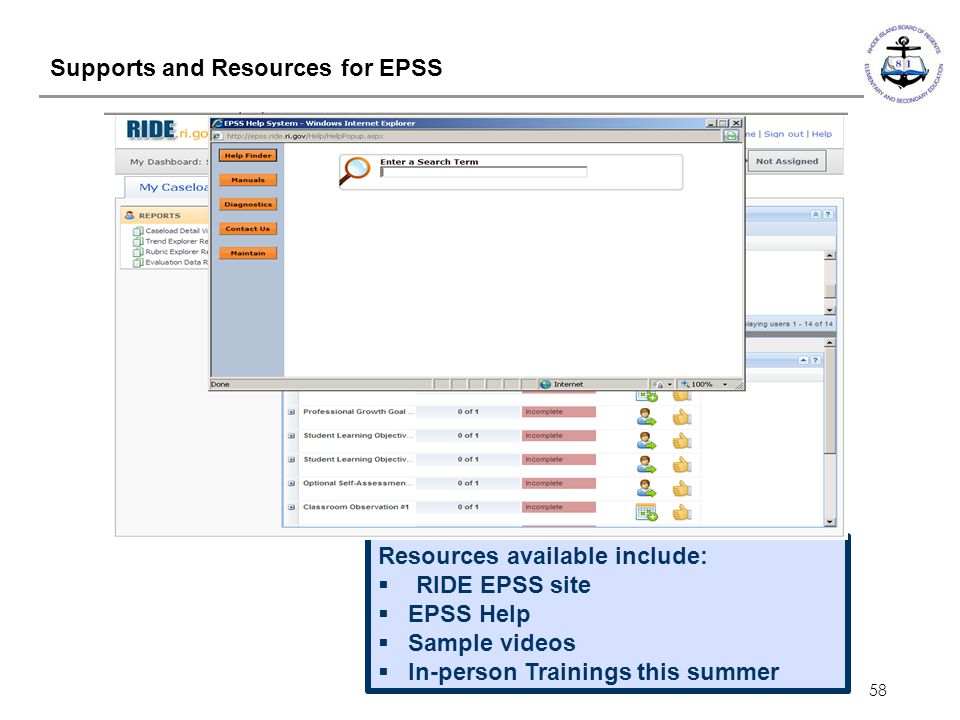 Supports and Resources for EPSS