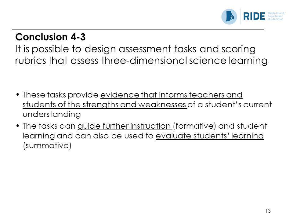 Conclusion 4-3 It is possible to design assessment tasks and scoring rubrics that assess three-dimensional science learning