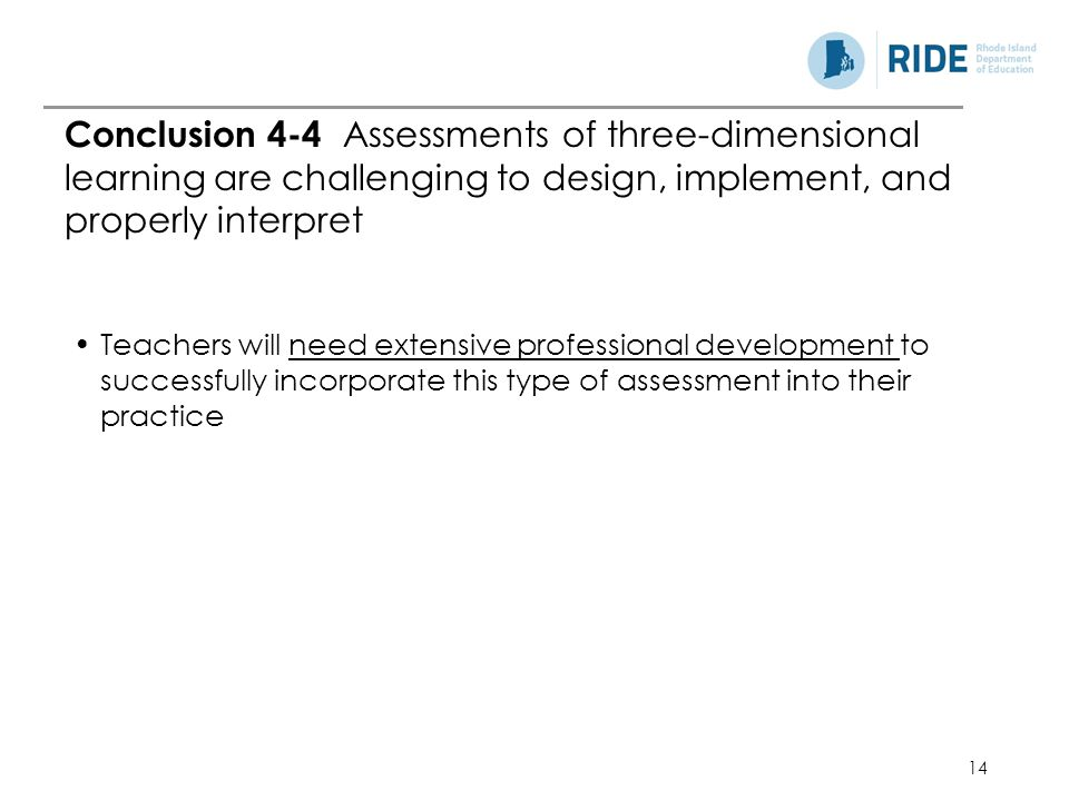 Conclusion 4-4 Assessments of three-dimensional learning are challenging to design, implement, and properly interpret