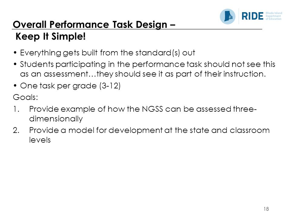 Overall Performance Task Design – Keep It Simple!