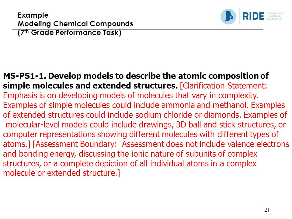 Example Modeling Chemical Compounds (7th Grade Performance Task)