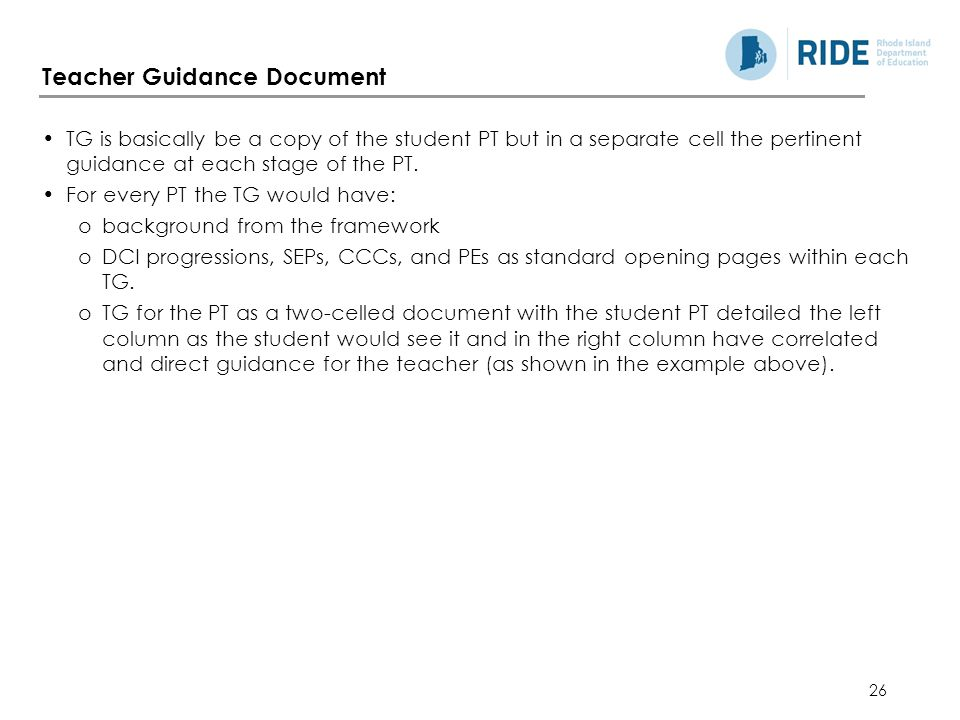 Teacher Guidance Document