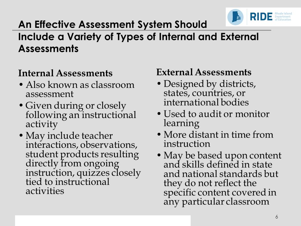 An Effective Assessment System Should Include a Variety of Types of Internal and External Assessments