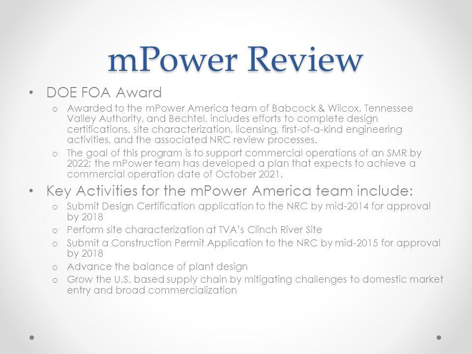 mPower Review DOE FOA Award