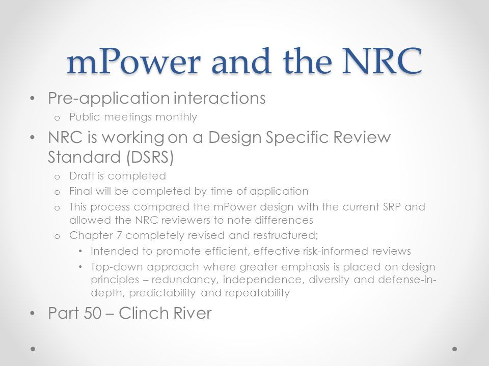 mPower and the NRC Pre-application interactions