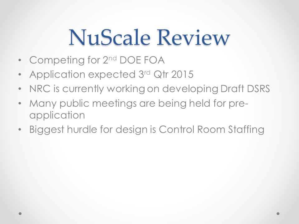 NuScale Review Competing for 2nd DOE FOA