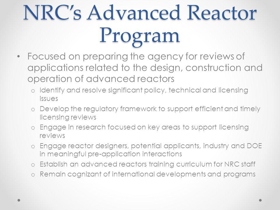 NRC's Advanced Reactor Program