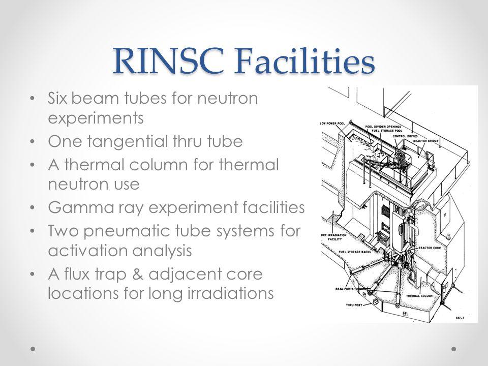 RINSC Facilities Six beam tubes for neutron experiments