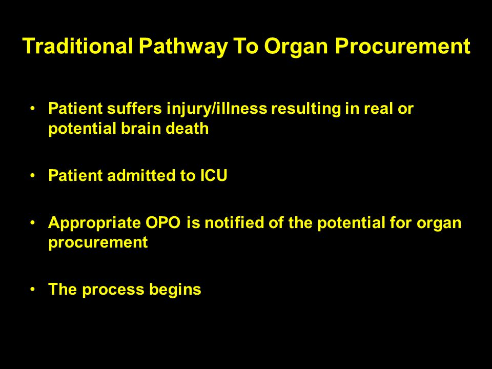 Traditional Pathway To Organ Procurement