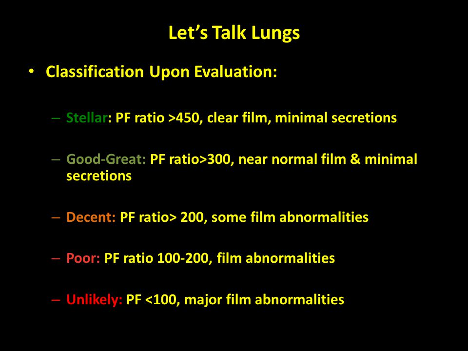 Let's Talk Lungs Classification Upon Evaluation: