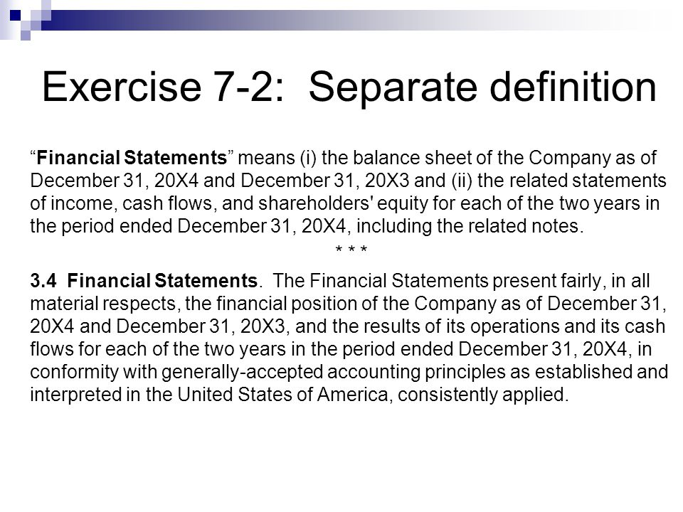 Exercise 7-2: Separate definition