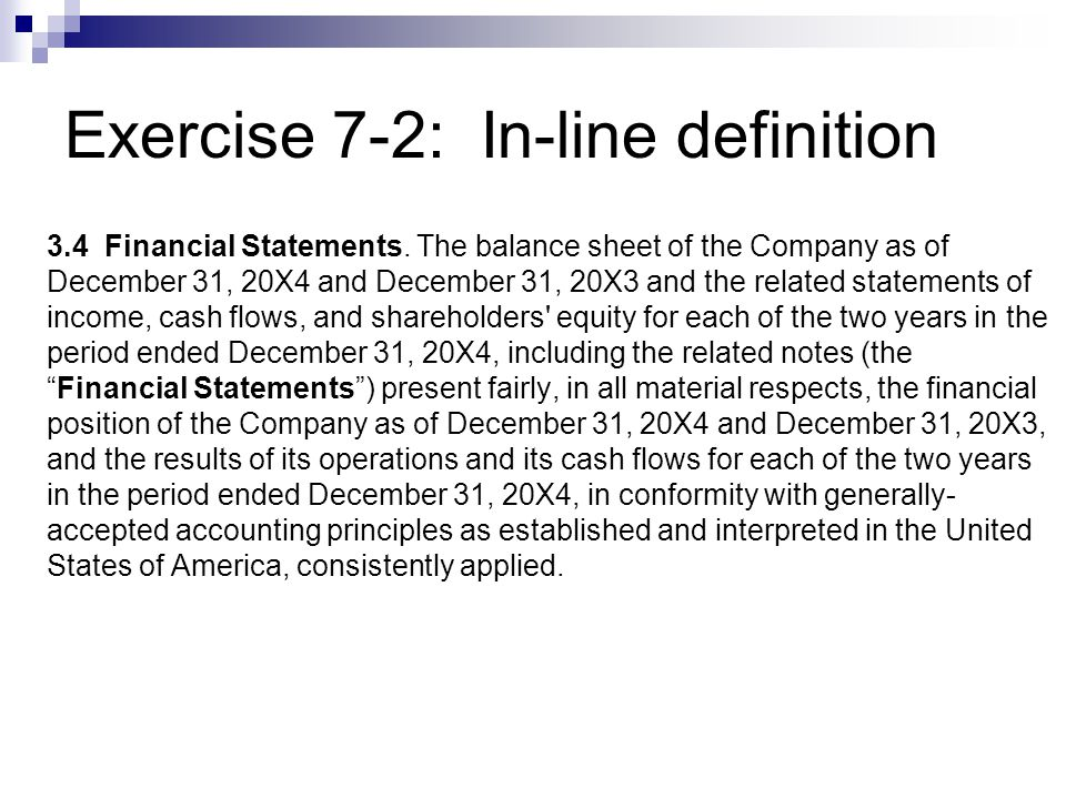Exercise 7-2: In-line definition