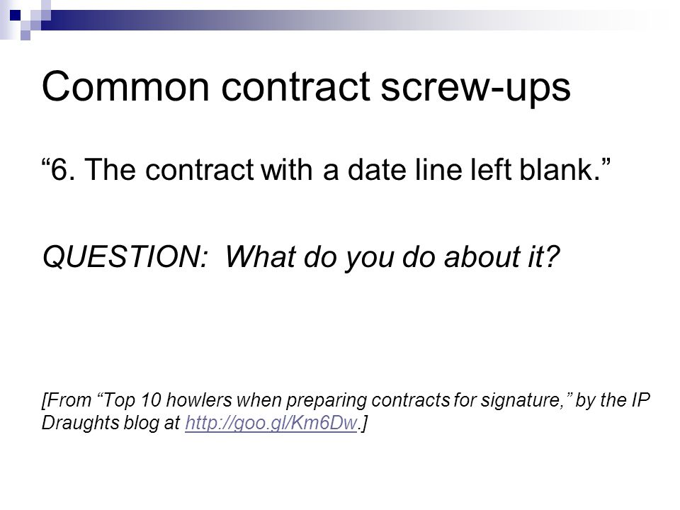 Common contract screw-ups