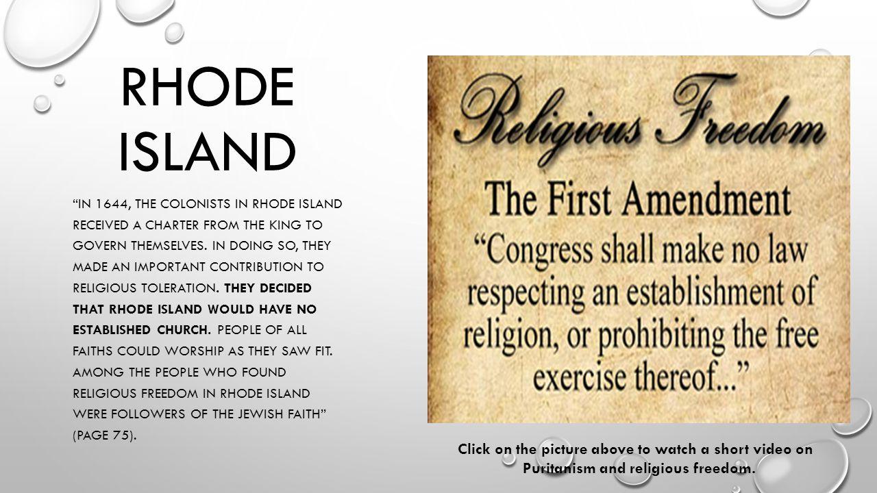 Puritanism and religious freedom.