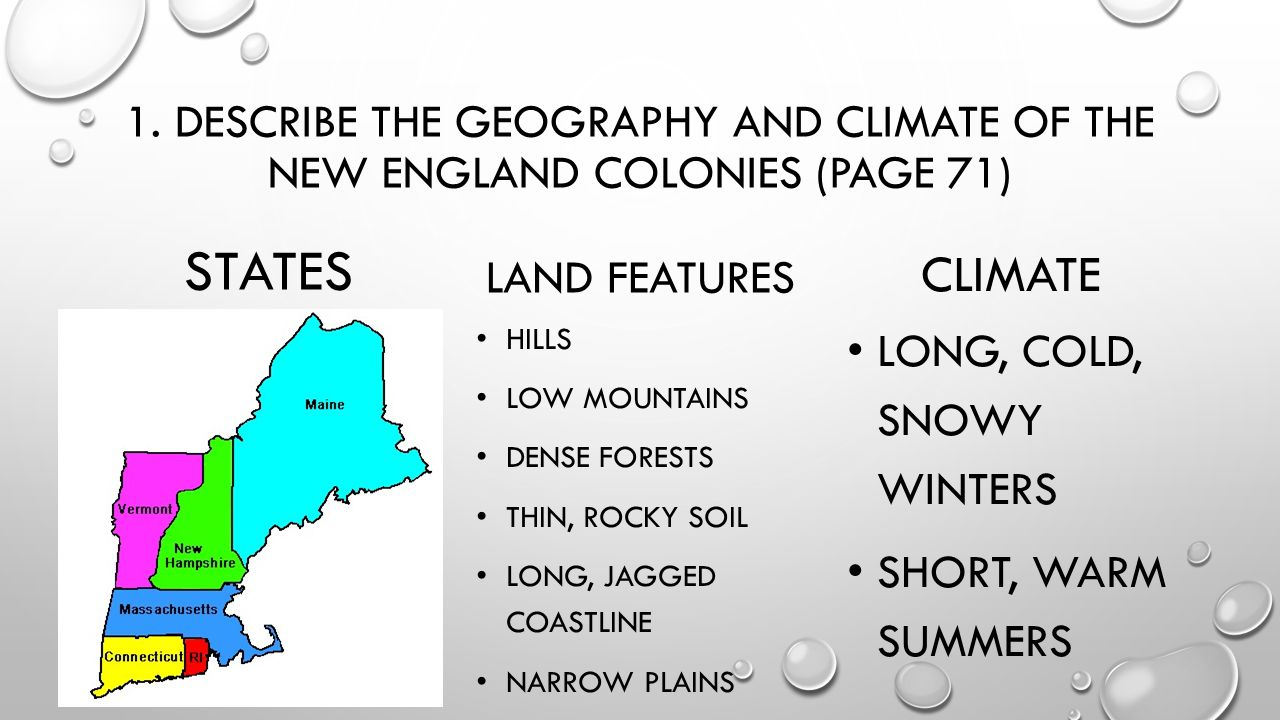 new england colonies Start studying new england colonies climate/geography/economies learn vocabulary, terms, and more with flashcards, games, and other study tools.