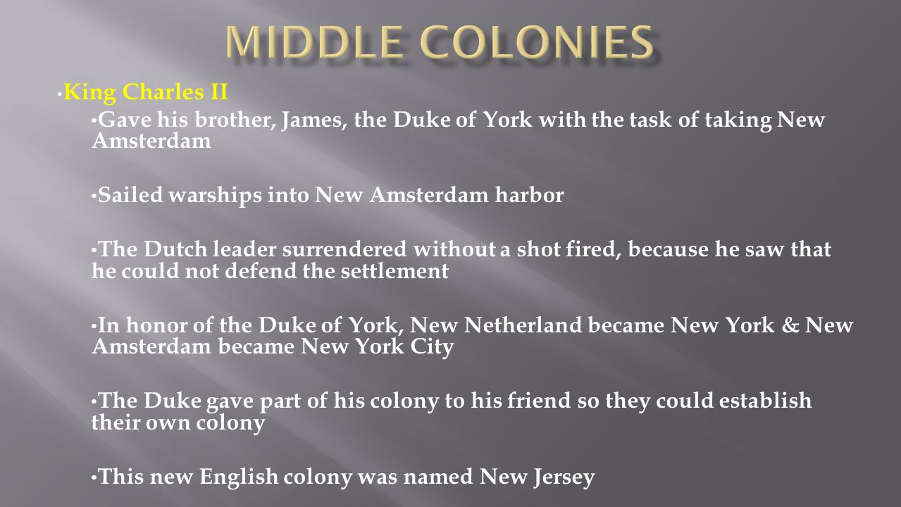 Middle colonies King Charles II