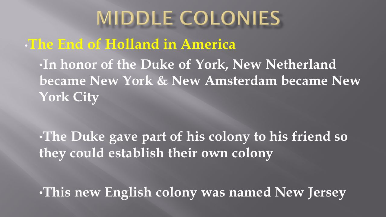 Middle colonies The End of Holland in America