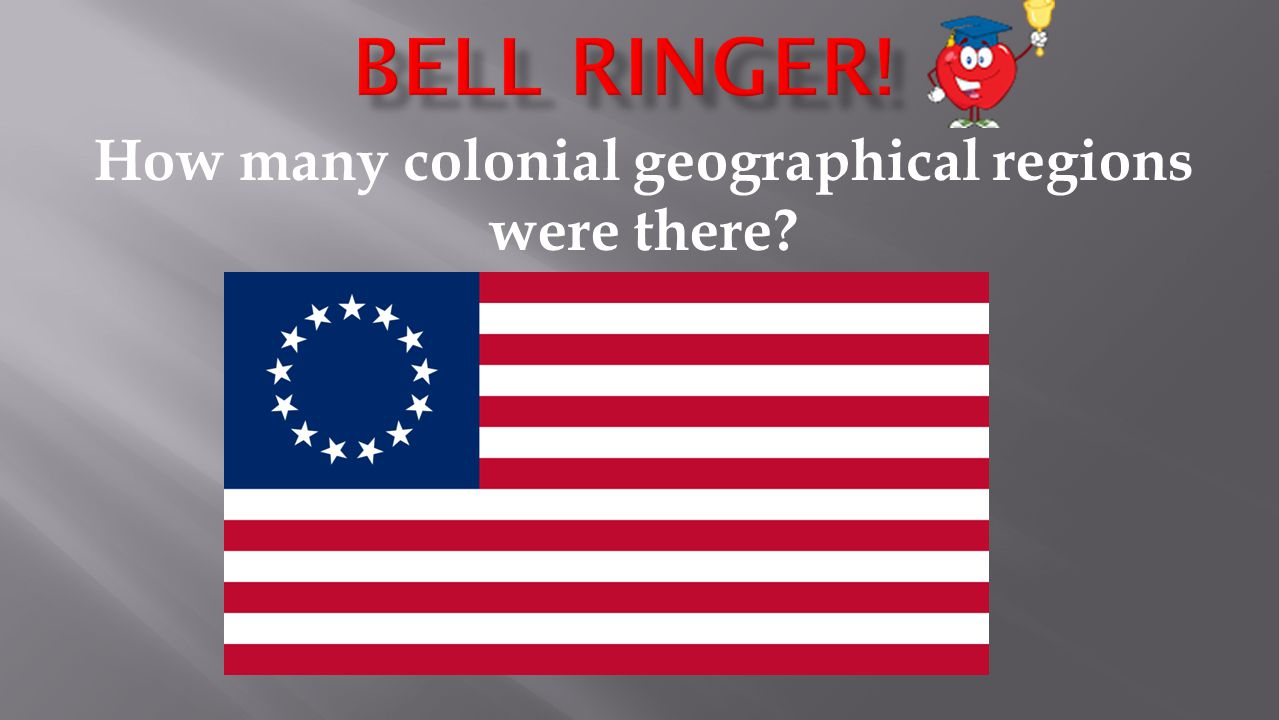 How many colonial geographical regions were there