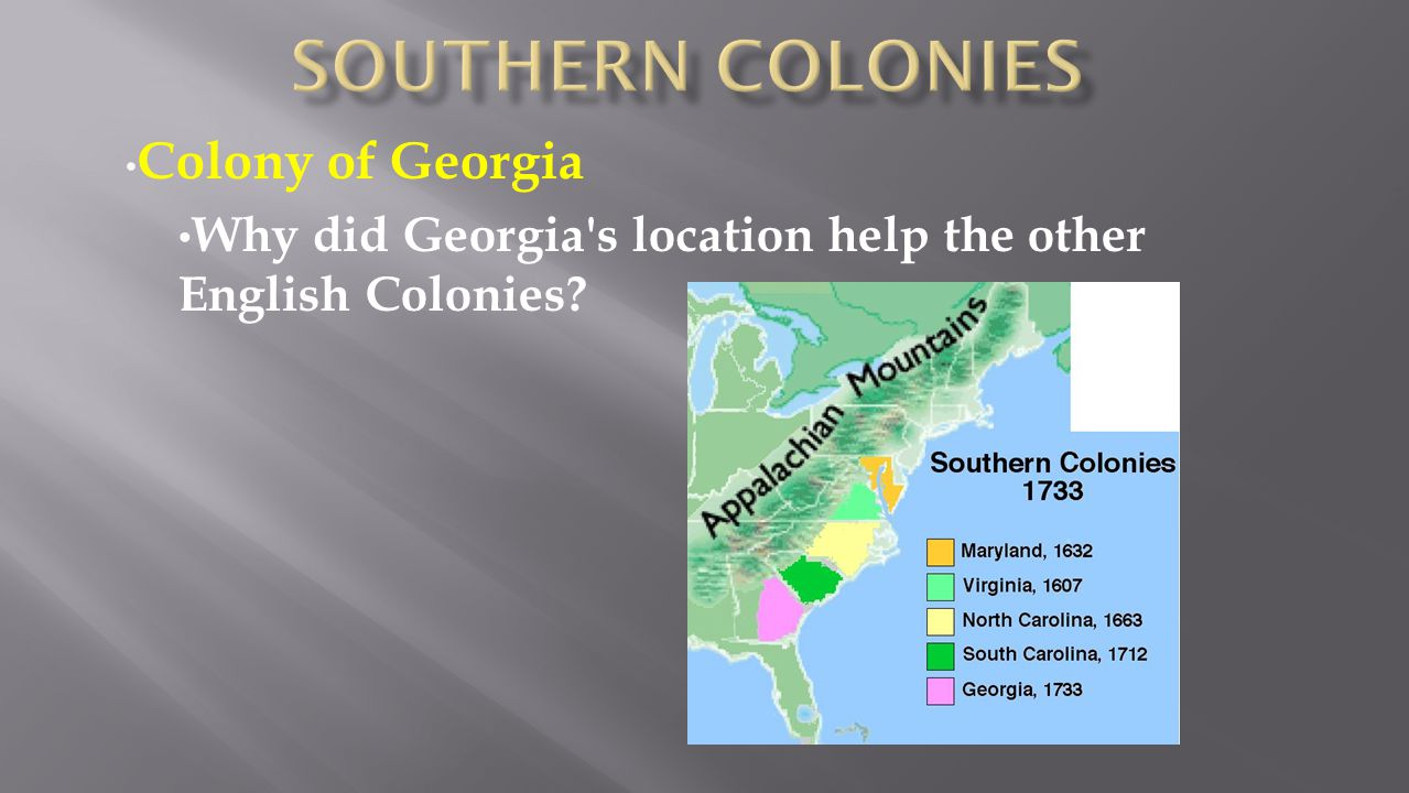 Southern colonies Colony of Georgia
