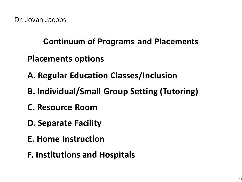 Continuum of Programs and Placements
