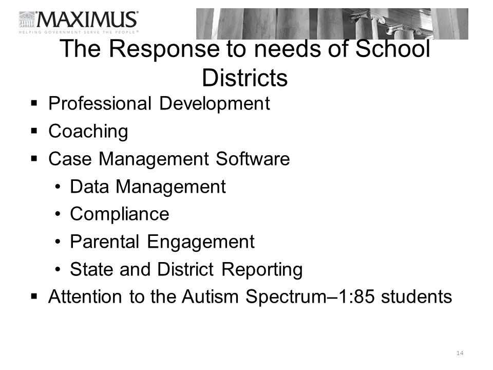 The Response to needs of School Districts