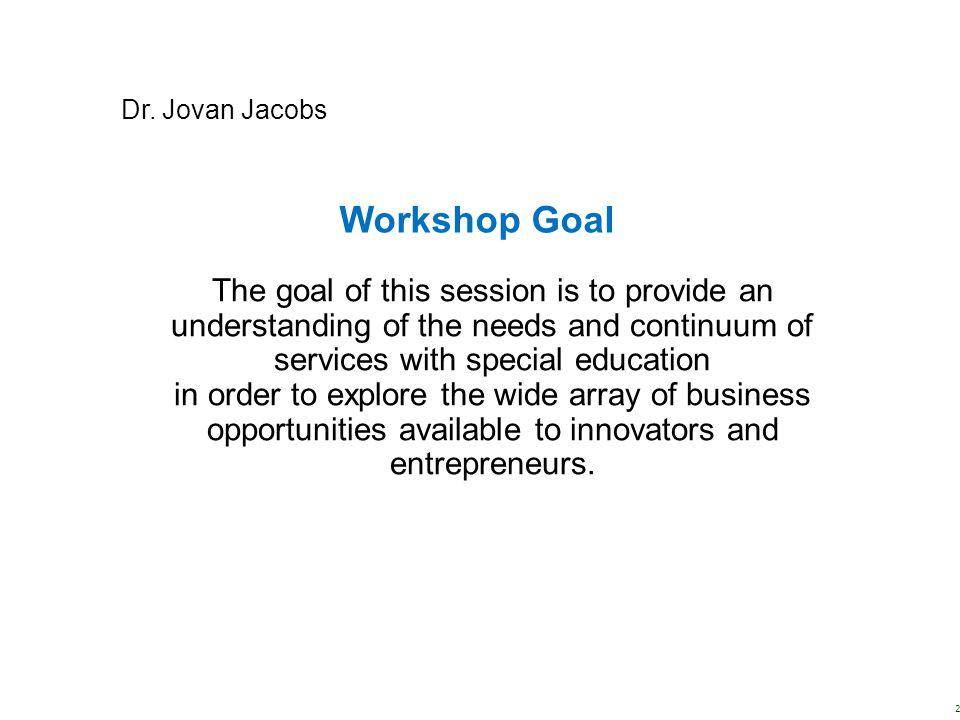 Dr. Jovan Jacobs Workshop Goal.