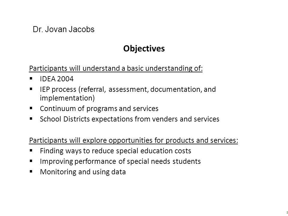 Objectives Dr. Jovan Jacobs
