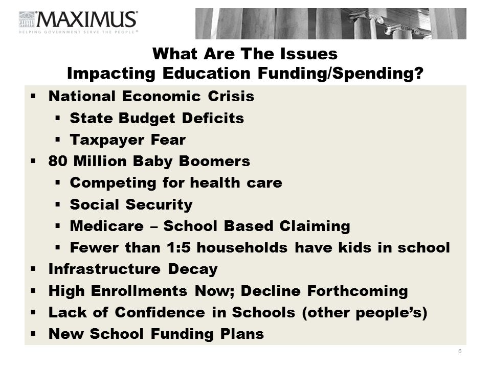 What Are The Issues Impacting Education Funding/Spending