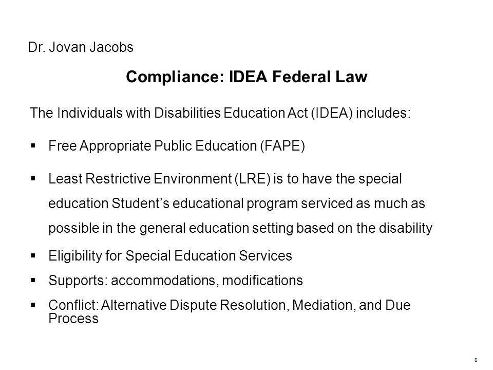 Compliance: IDEA Federal Law