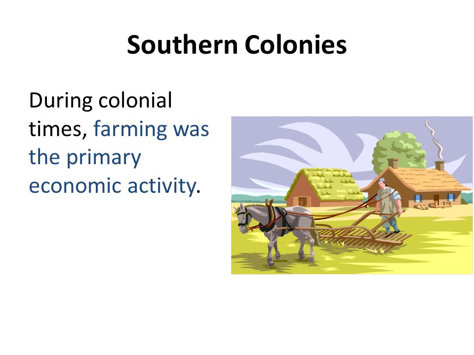 Southern Colonies During colonial times, farming was the primary economic activity.