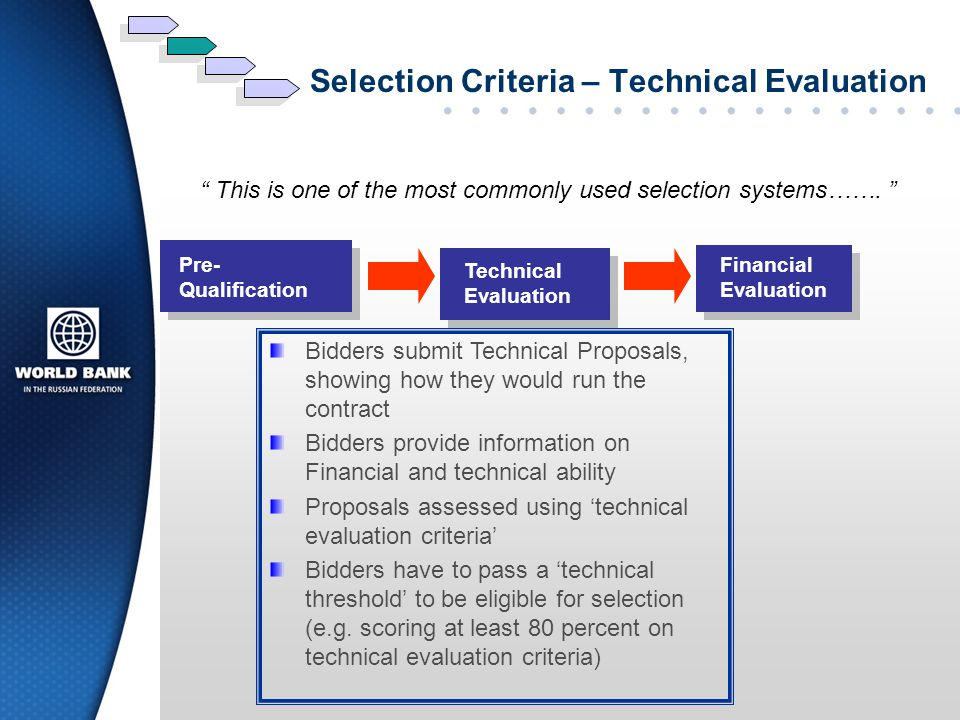 Selection Criteria – Technical Evaluation