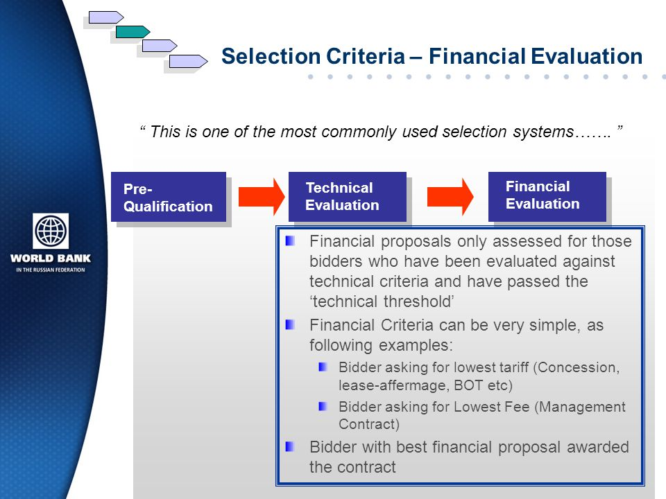 Selection Criteria – Financial Evaluation