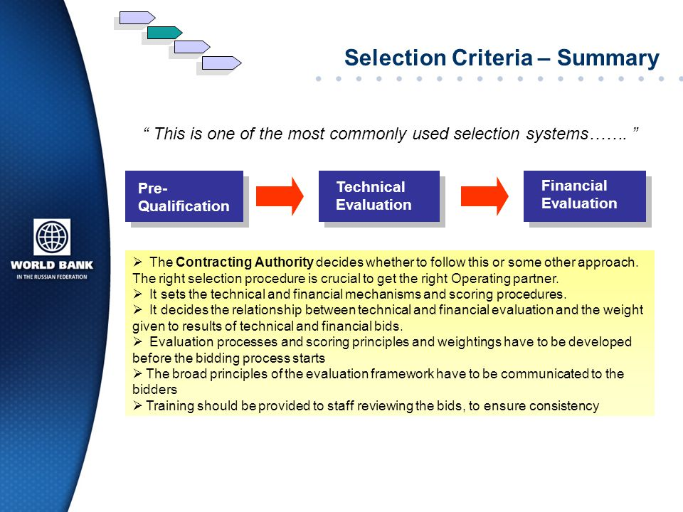 Selection Criteria – Summary