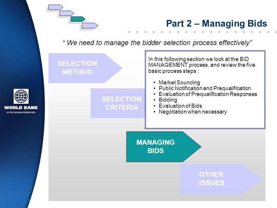 We need to manage the bidder selection process effectively
