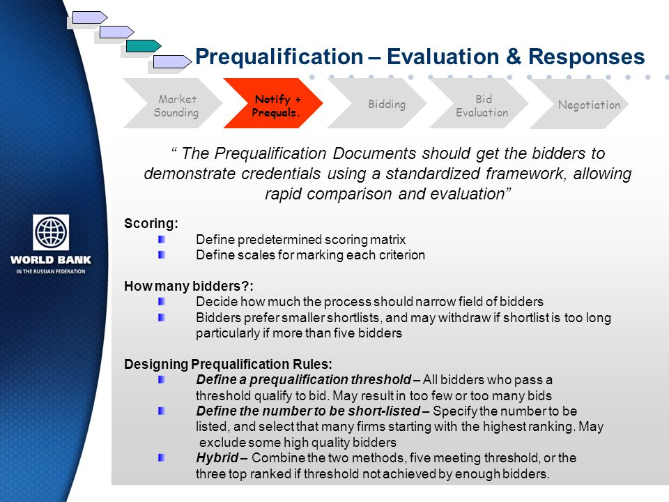 Prequalification – Evaluation & Responses