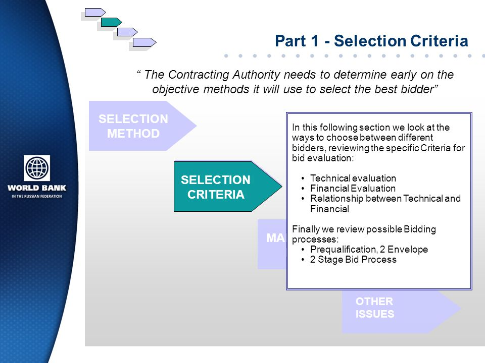 Part 1 - Selection Criteria