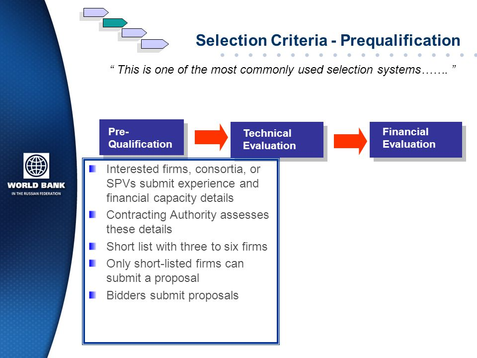 Selection Criteria - Prequalification
