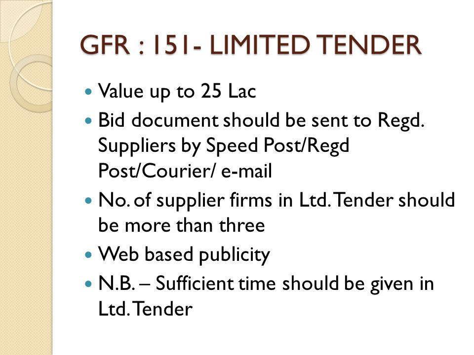 GFR : 151- LIMITED TENDER Value up to 25 Lac