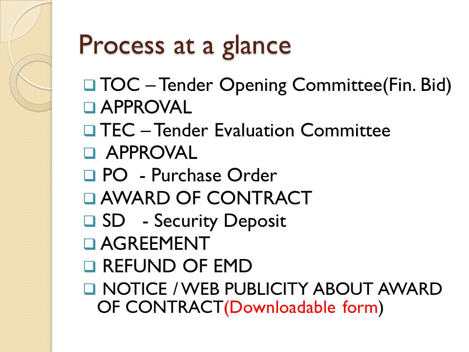 Process at a glance TOC – Tender Opening Committee(Fin. Bid) APPROVAL