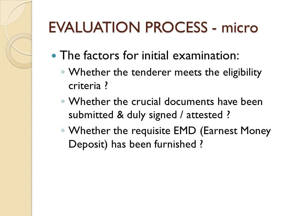 EVALUATION PROCESS - micro