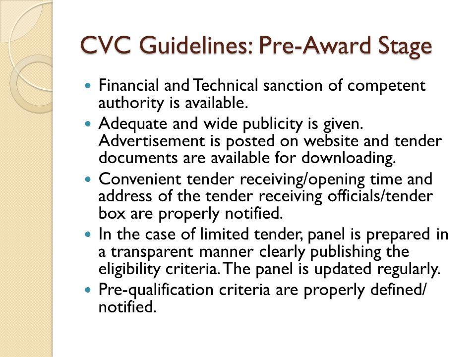 CVC Guidelines: Pre-Award Stage