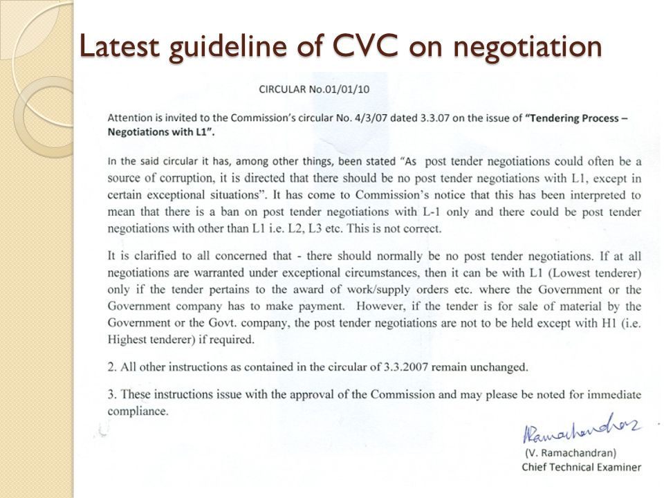Latest guideline of CVC on negotiation