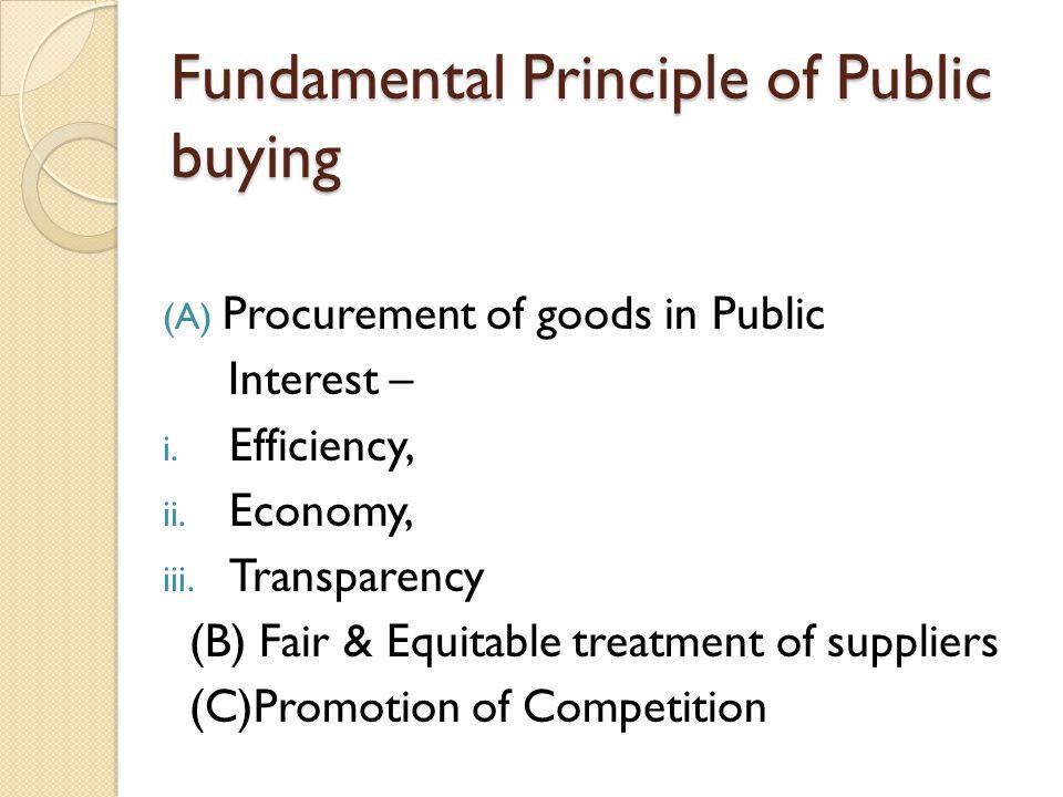 Fundamental Principle of Public buying