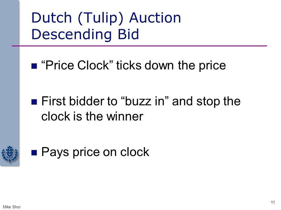 Dutch (Tulip) Auction Descending Bid