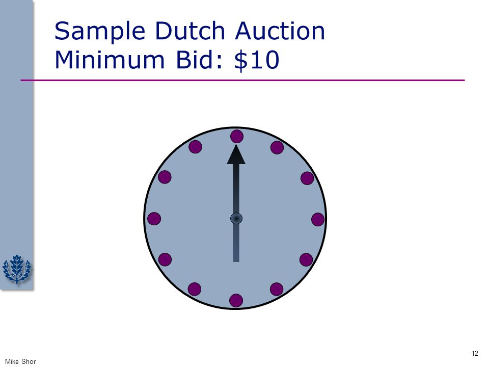 Sample Dutch Auction Minimum Bid: $10