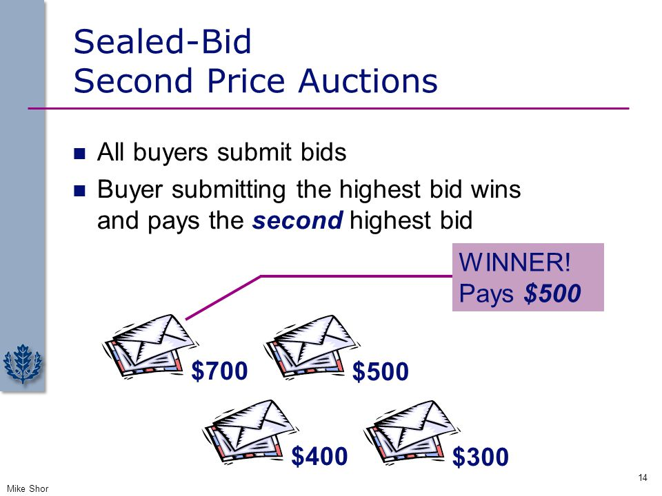 Sealed-Bid Second Price Auctions